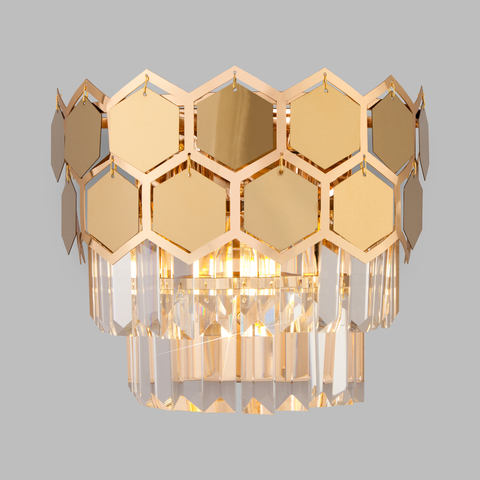 Настенный светильник с хрусталем 10113/2 золото/прозрачный хрусталь Strotskis