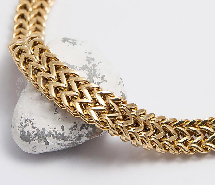 BM477 Массивный мужской браслет золотого цвета (21 см) фото 02