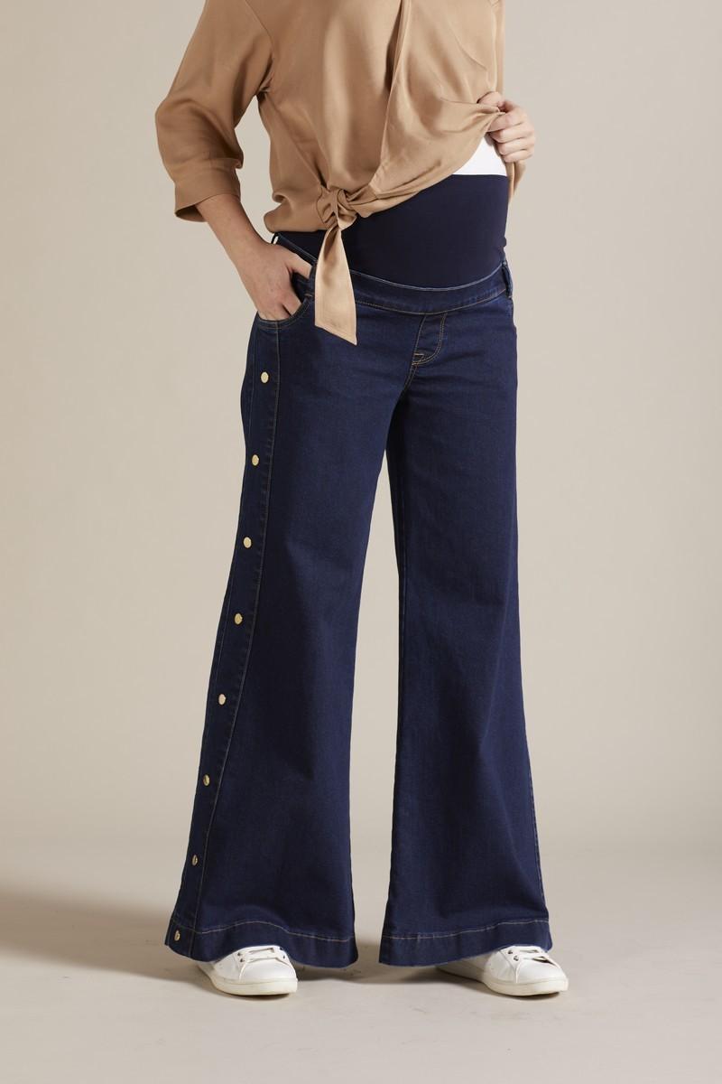 Фото джинсы для беременных GEBE, расклешенные, широкий бандаж от магазина СкороМама, синий, размеры.