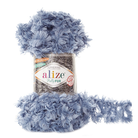 Купить Пряжа Alize Puffy Fur Цвет 6106 Серо-голубой | Интернет-магазин пряжи «Пряха»