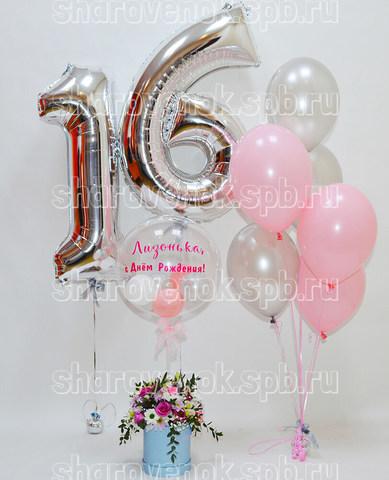 цифры из шаров, цветы в коробке, фонтан из шаров