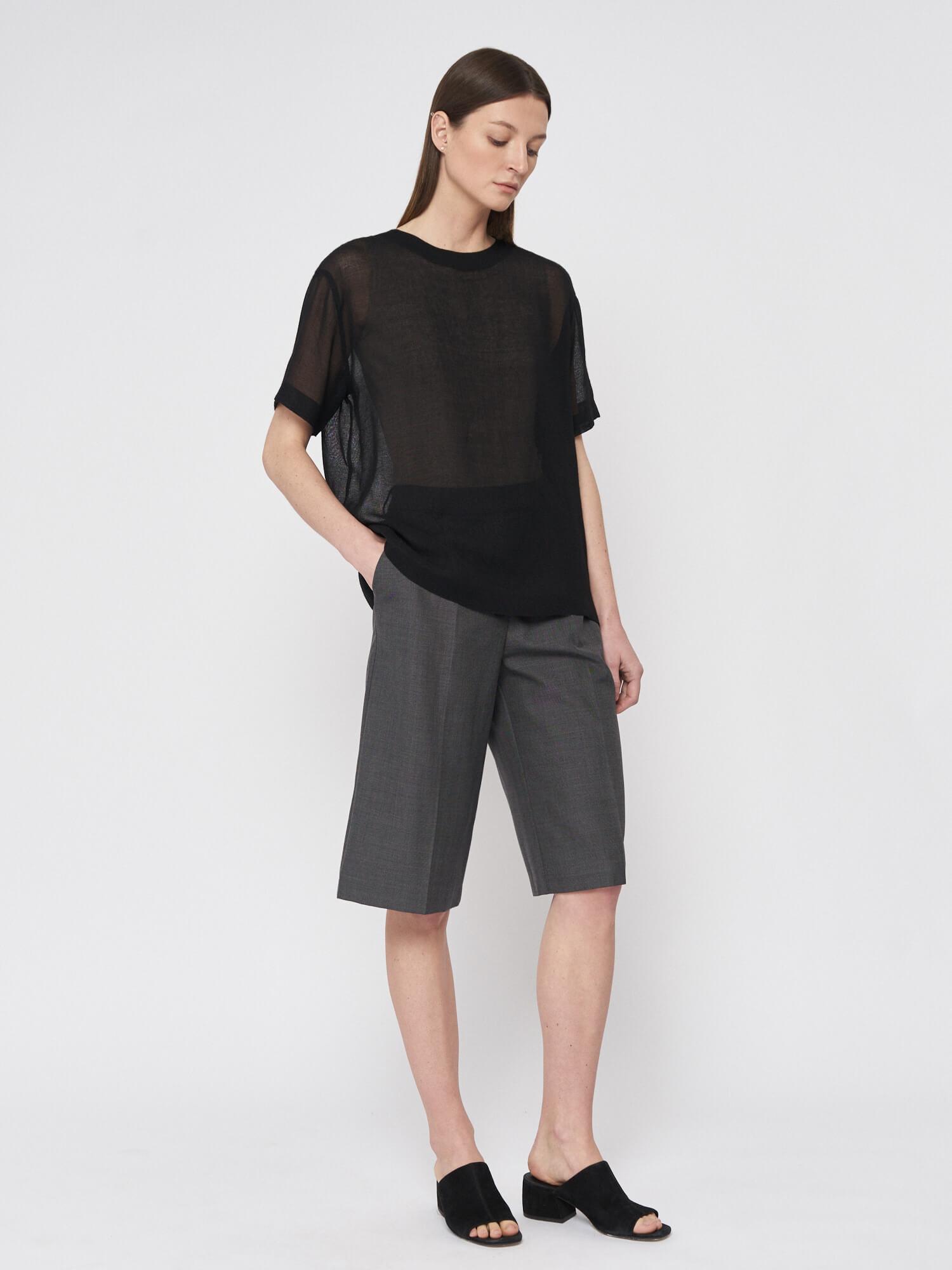 Блуза Rene прозрачная, Черный