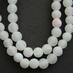 Бусина Агат Крэкл, матовый (тониров), шарик, цвет - белый, 6 мм, нить