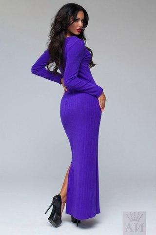 Платье ангоровое в пол с вырезом на груди, фиолетовое 2