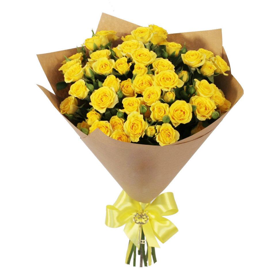 Цветы 15 желтых кустовых роз 422.970.jpg
