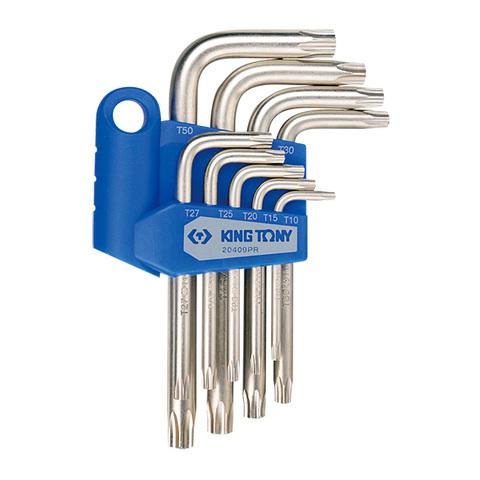 KING TONY (20409PR) Набор Г-образных ключей TORX с отверстием, T10-T50, 9 предметов