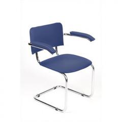 Кресло ZP_UP_Silwia Arm каркас хром, к/з синий