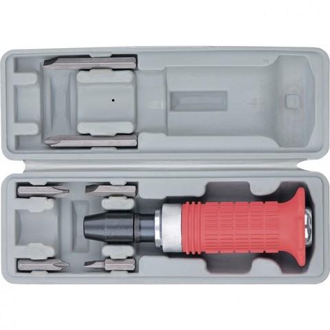 Отвертка ударно-поворотная 1/2, набор бит, 6 шт, обрезиненная ручка, пластиковый бокс Matrix