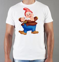 Футболка с принтом мультфильма Белоснежка и семь гномов (Snow White and the Seven Dwarfs) белая 006