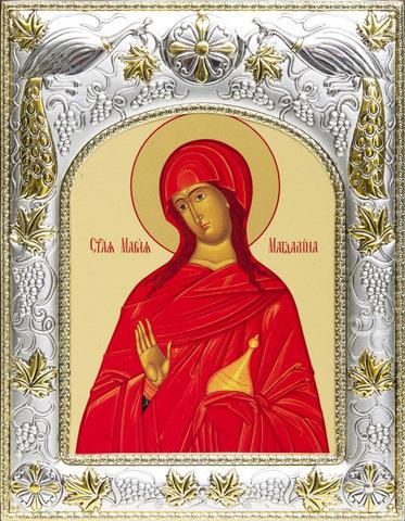 Серебряная икона именная Мария Магдалина 18x14см