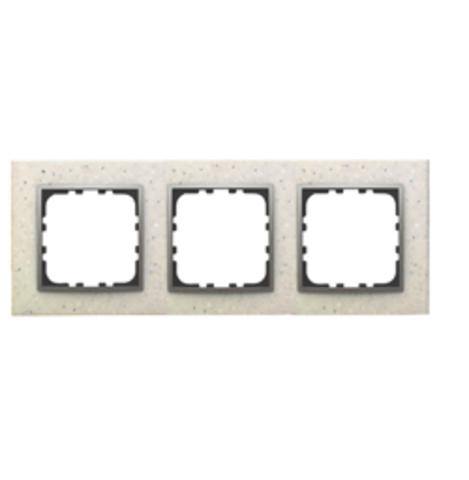 Рамка на 3 поста из декоративного камня. Цвет Белый мрамор. LK Studio LK60 / LK80 (ЛК Студио ЛК60 / ЛК80). 864389