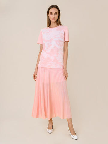 Женская футболка розового цвета из вискозы - фото 3