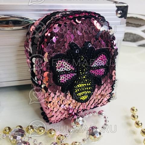 Ключница-брелок-кошелек для мелочи в двусторонних пайетках Пчёлка розовая-серебристая