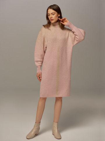 Женское платье светло-розового цвета с объемными рукавами - фото 4