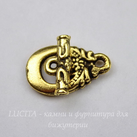 "Замок - тоггл из 2х частей ""Ананас"" 18х15 мм (цвет - античное золото)"