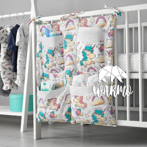 органайзер на ліжечко з білими єдинорогами фото