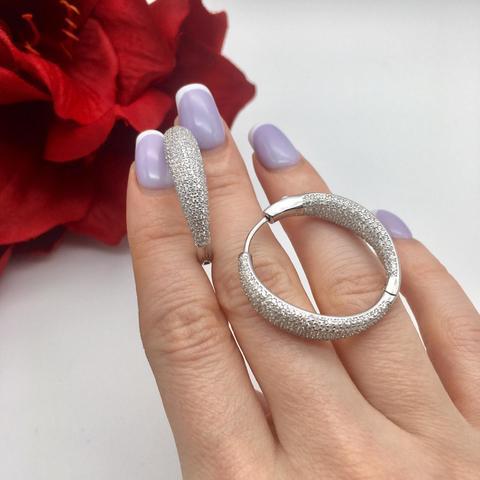6788- Серьги кольца из серебра с микроцирконами в стиле Grisogono