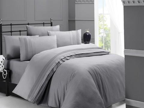 Комплект постельного белья DO&CO Сатин  жаккард DELUX SQUARE 2 спальный (Евро) цвет серый