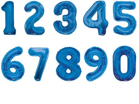 Фольгированный шар Цифра синяя в ассортименте 34