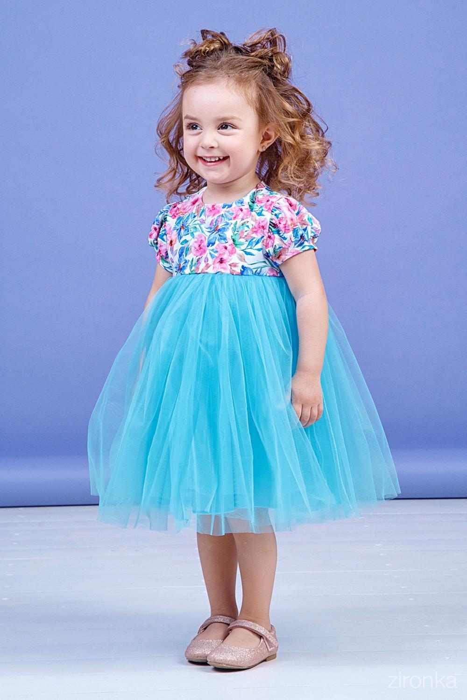 Платье голубое для девочки 38-9003-2