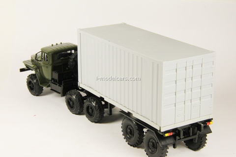 Ural-44202 with semitrailer-container khaki-white Elecon 1:43