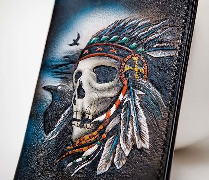 BC226 Обложка на паспорт ручной работы с черепом индейца фото 03