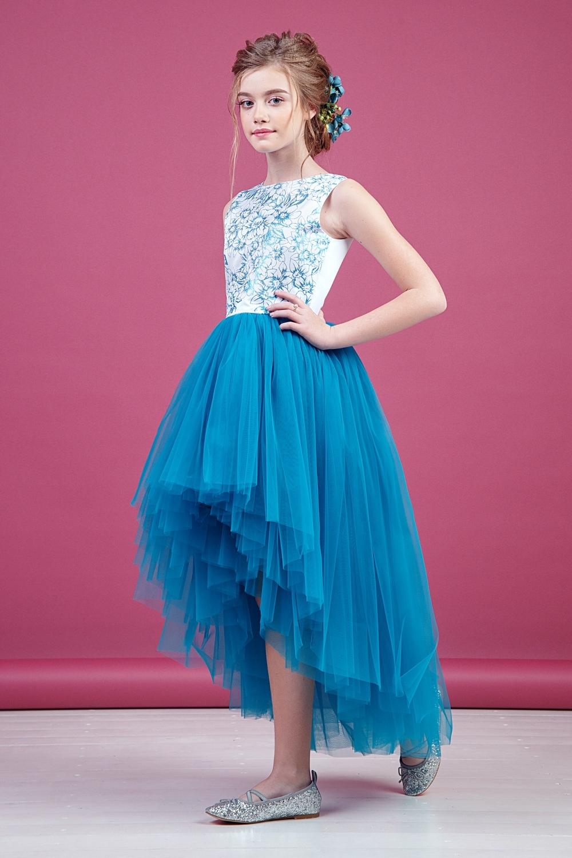 Платье бирюзовое для девочки 38-9012-2