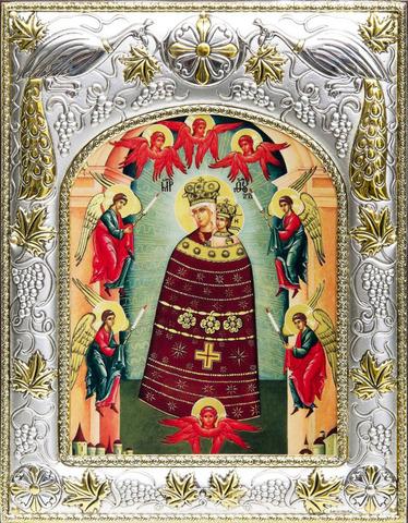 Серебряная икона Божья Матерь Прибавление Ума 18x14см