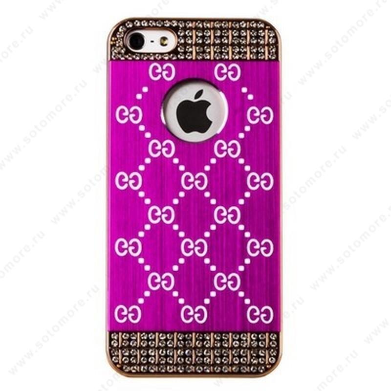 Накладка GUCCI металлическая для iPhone SE/ 5s/ 5C/ 5 золото розовая