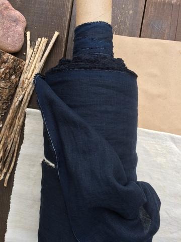 Лен крэш костюмный 100%, Черно-синий