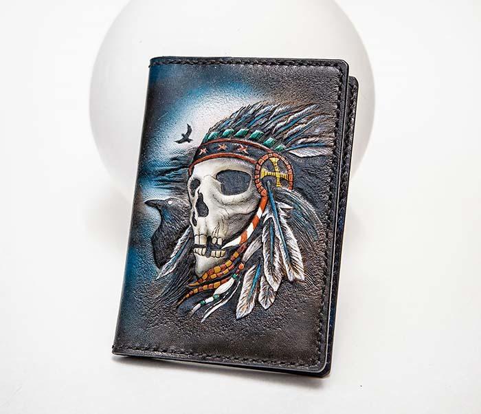 BC226 Обложка на паспорт ручной работы с черепом индейца фото 06