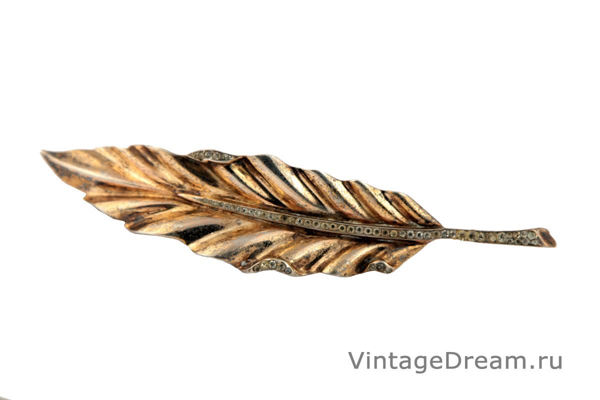 """Роскошная серебряная брошь """"Перышко"""" от Trifari, 1942 год"""