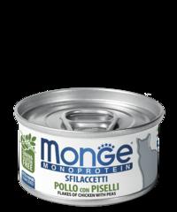 Monge Monoprotein for cat flakes влажный корм для кошек хлопья с курицей и горошком 80гр