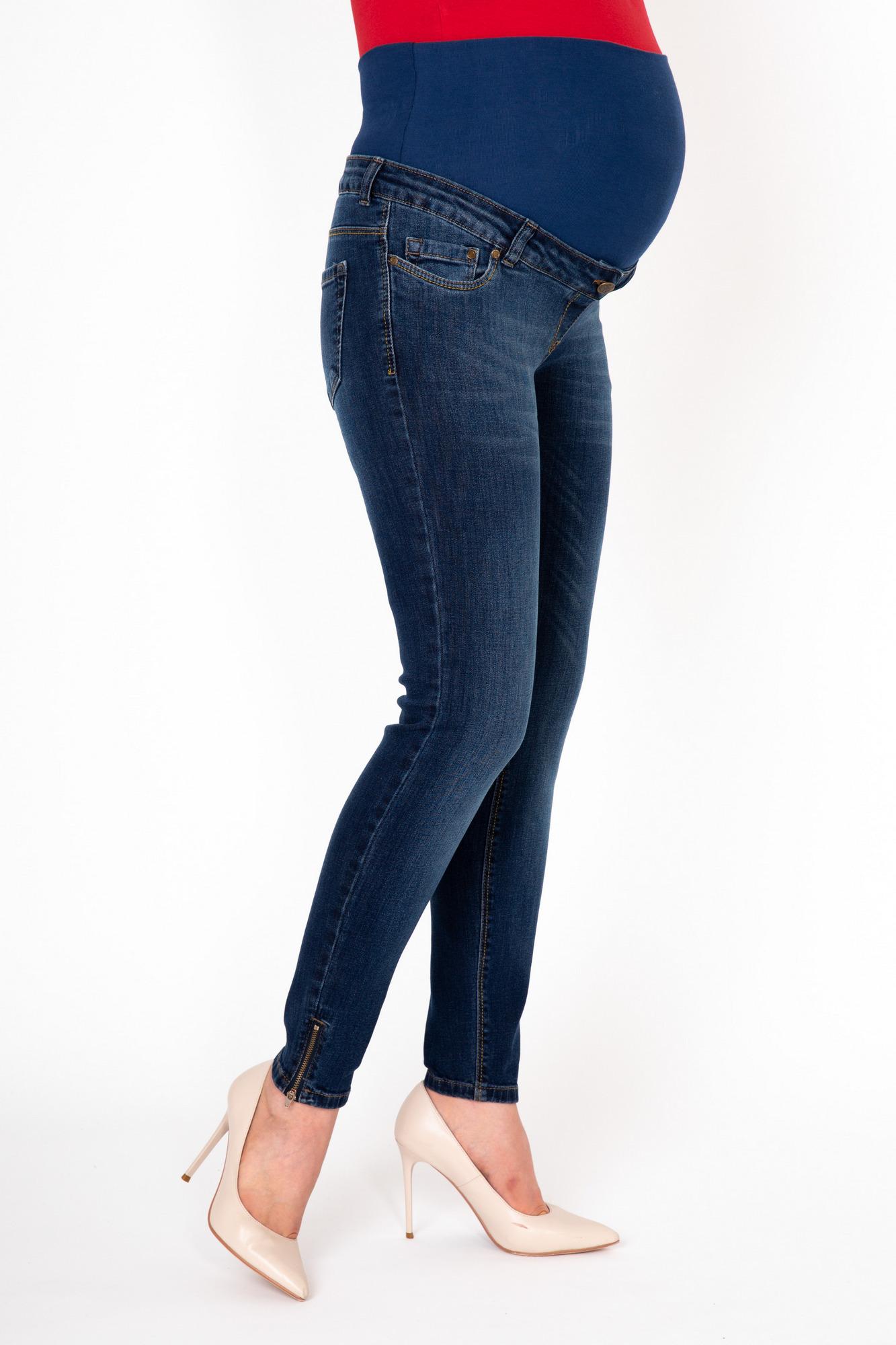 Фото джинсы-скинни для беременных MAMA`S FANTASY, средняя посадка. вставка, молнии по бокам снизу от магазина СкороМама, синий, размеры.