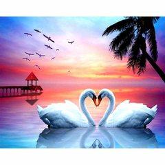Картина раскраска по номерам 40x50 Любовь и лебеди