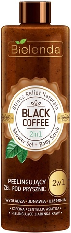 STRESS RELIEF NATURALS Black Coffee 2в1 гель для душа+скраб 410г