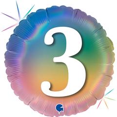 Г Шар (18''/46 см) Круг, 3 Цифра, Радужный, Голография, 1 шт.