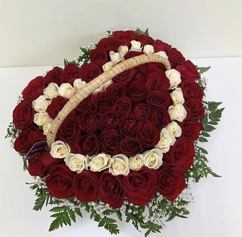 75 роз в корзине в форме сердца #16122