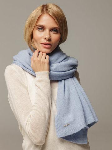 Женский шарф голубого цвета из 100% кашемира - фото 2