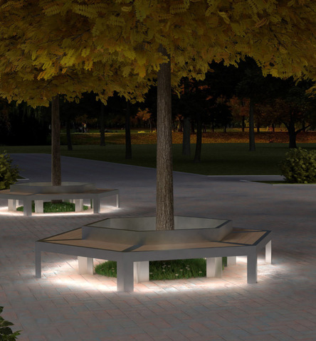 Bench CITY with lights / hexagonal