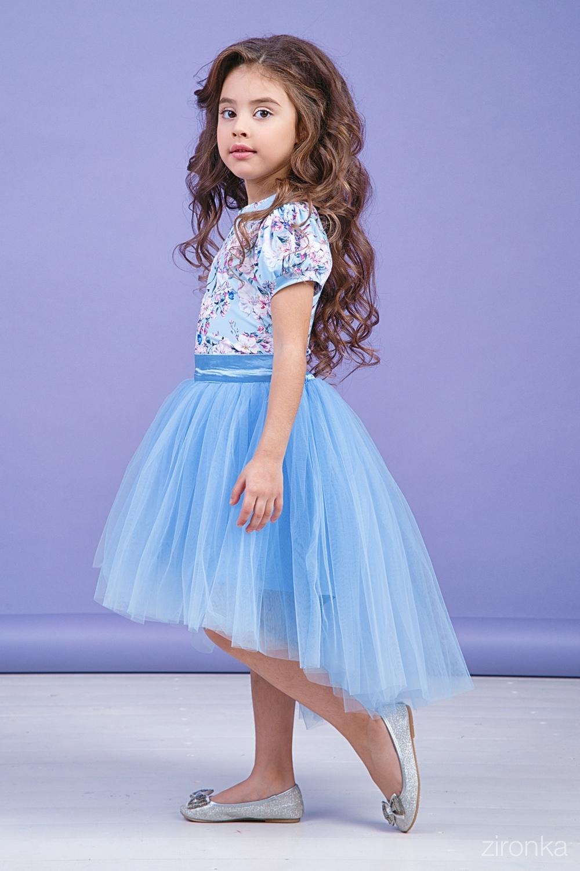 Комплект (блузка, юбка) голубой для девочки 64-9004-2