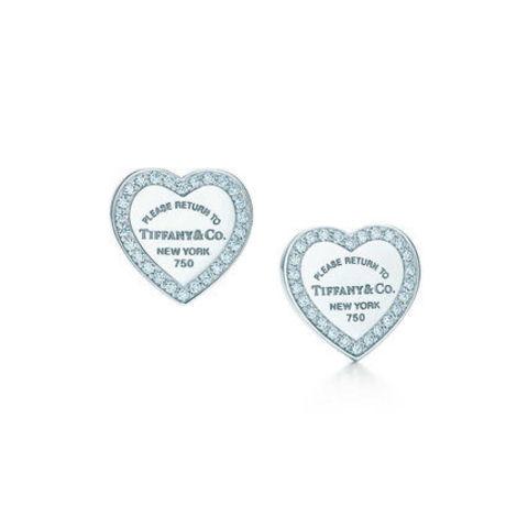 Пусеты-сердечки из серебра с фианитами по контуру