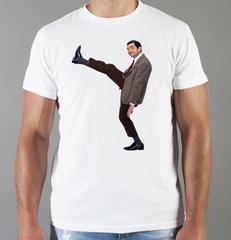 Футболка с принтом Мистер Бин (Mr. Bean, Роуэн Аткинсон) белая 0020