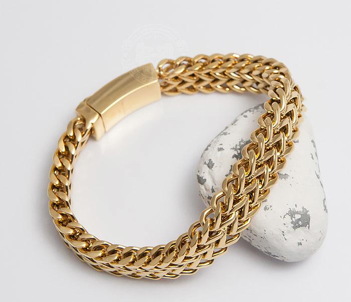 BM477 Массивный мужской браслет золотого цвета (21 см) фото 05