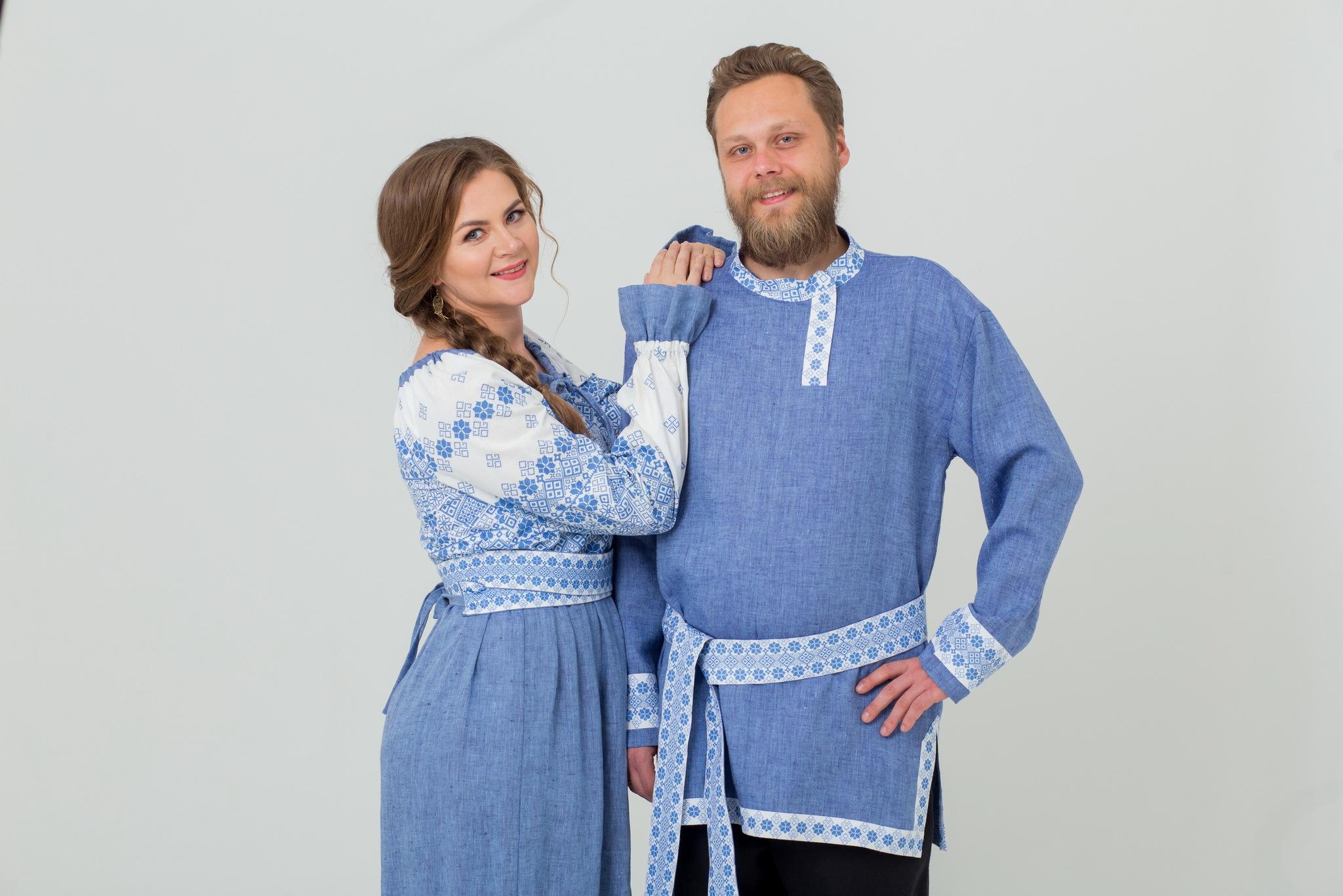 Льняная мужская косоворотка и льняное платье в русском стиле