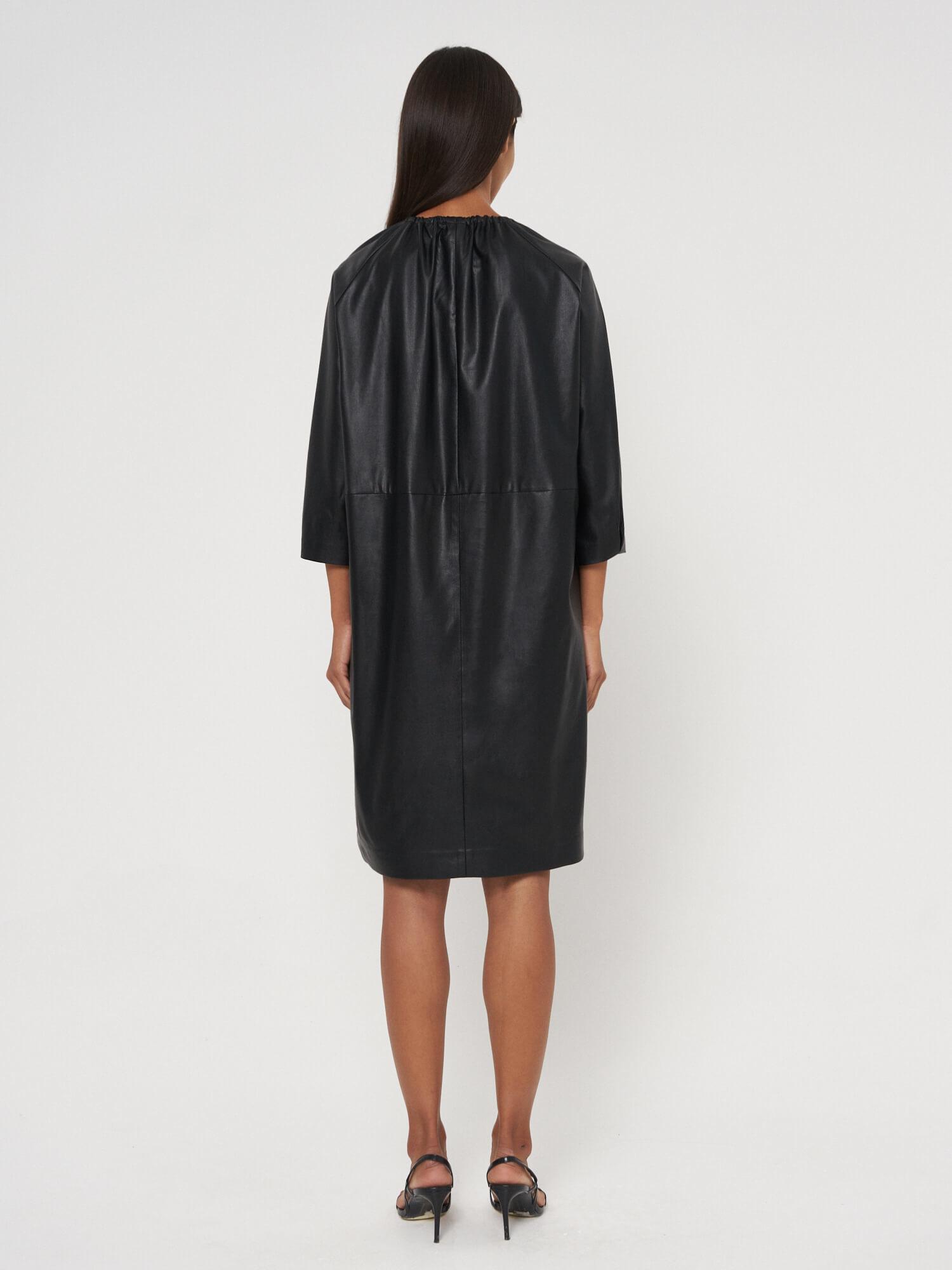 Платье Aurora из экокожи, Черный