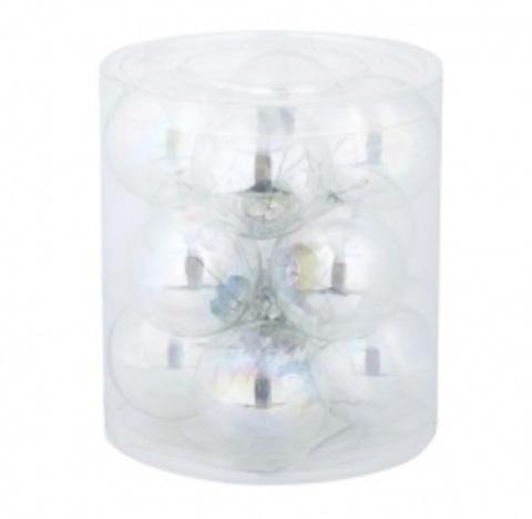 Набор шаров 12шт. в тубе (стекло), D4см, цвет: прозрачный