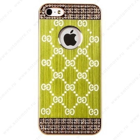 Накладка GUCCI металлическая для iPhone SE/ 5s/ 5C/ 5 золото зеленая