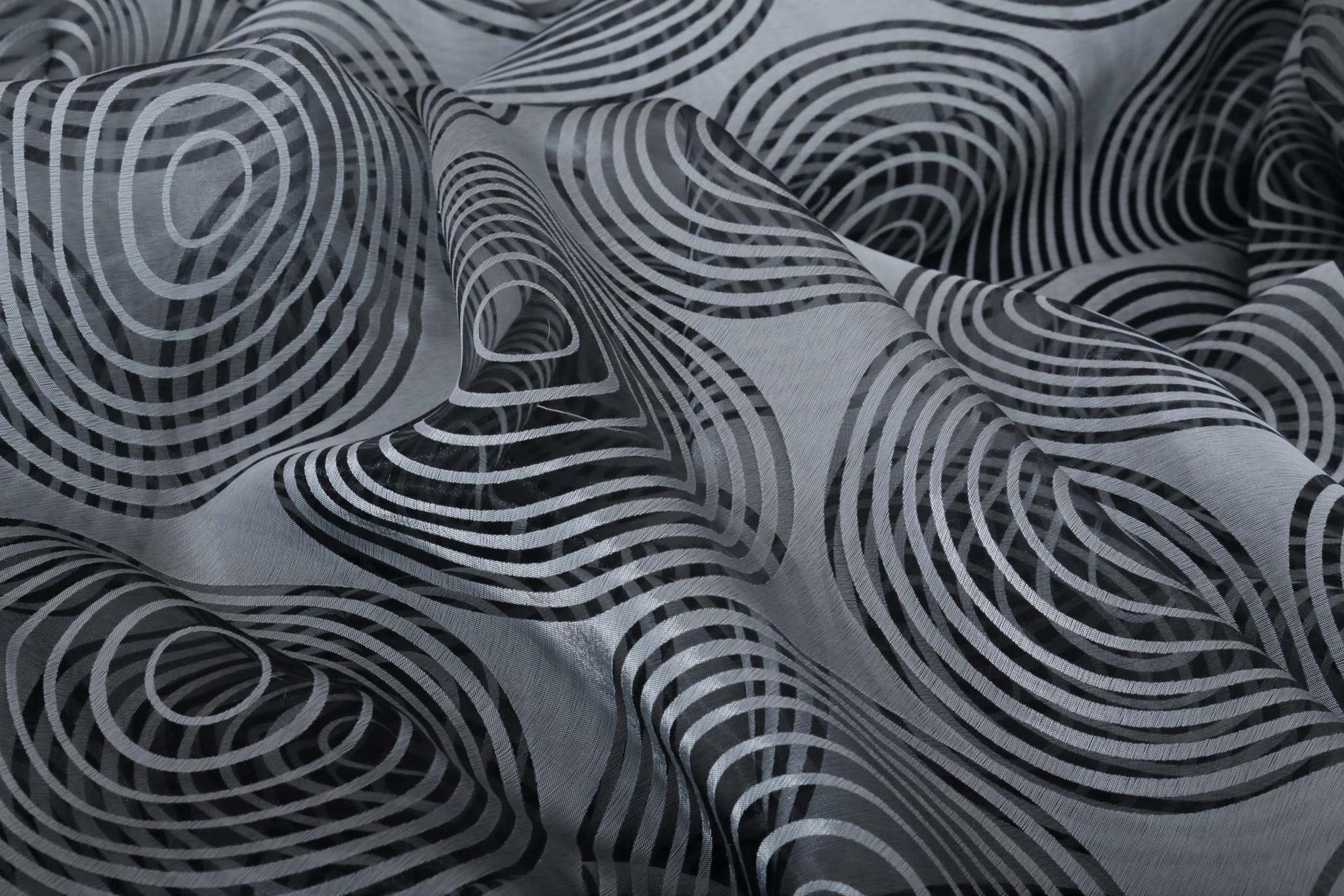 Штора Деворе Вектор (черно-белый)