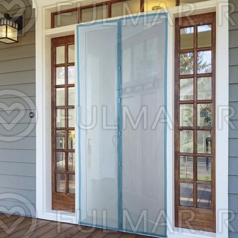 Москитная сетка на балконную и входную дверь на магнитах 100x210 см Синяя